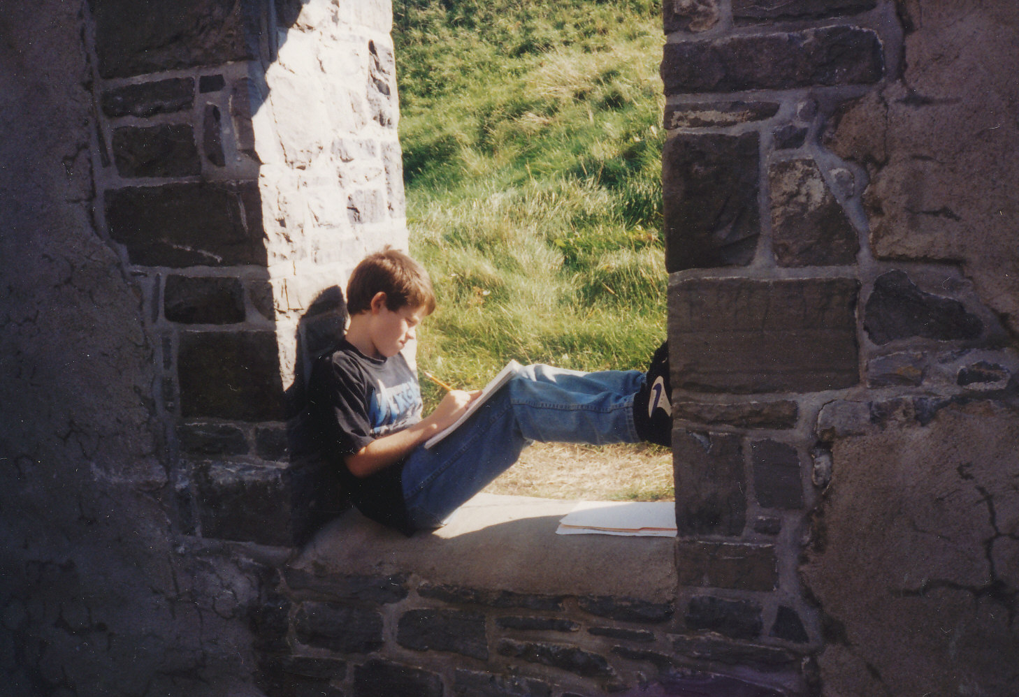 Boy at stone fort